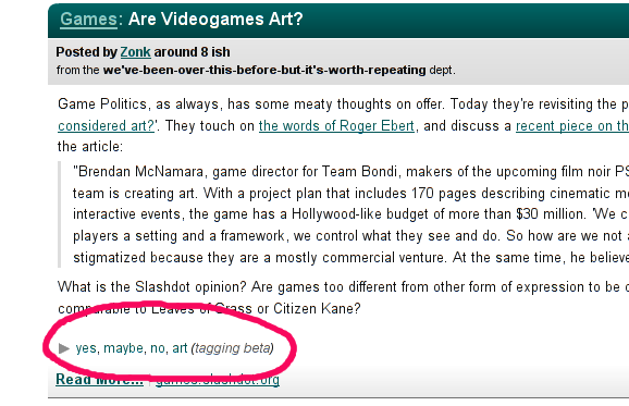 Slashdot Tagging Beta
