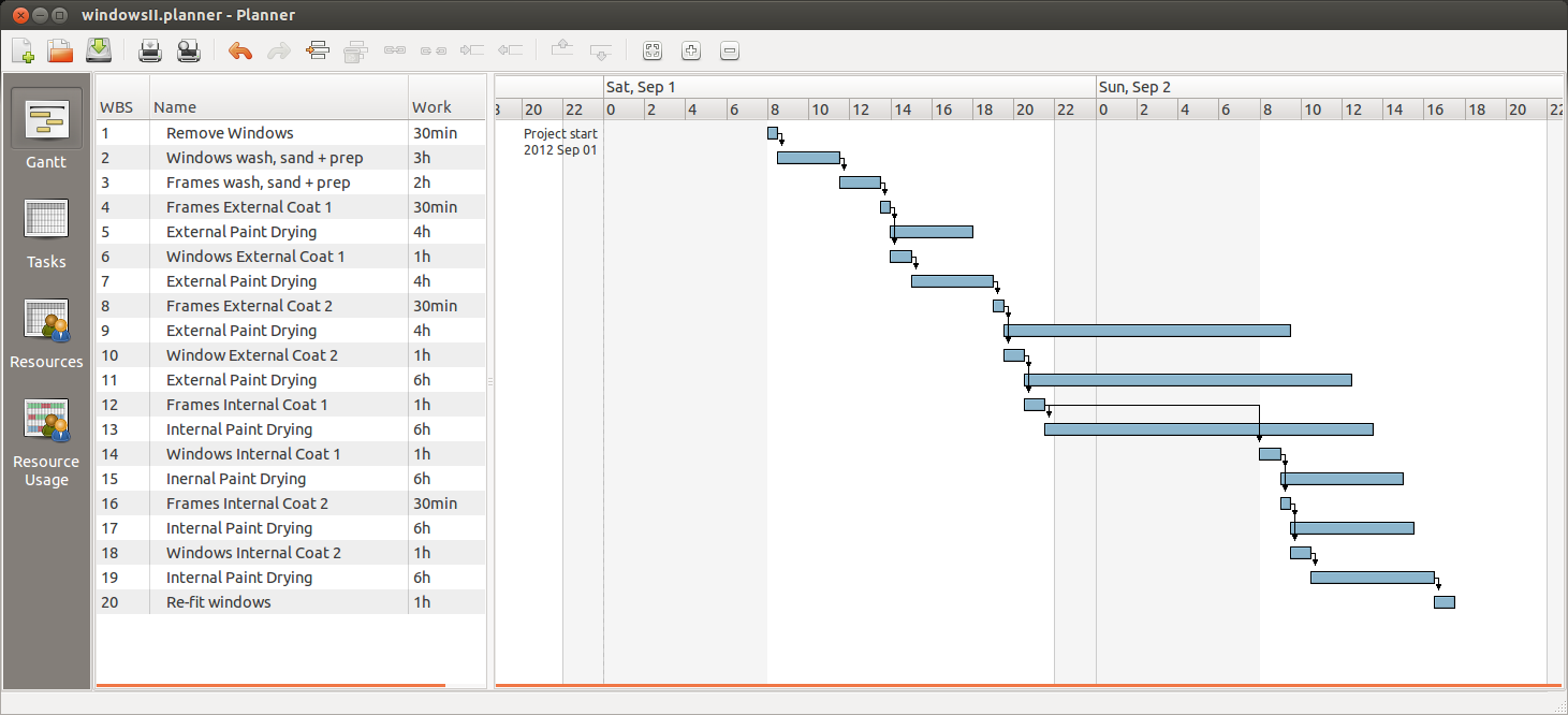 Window painting gantt chart for Web based interior design software